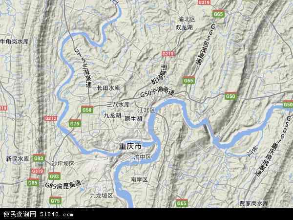 中国重庆市江北区地图(卫星地图)