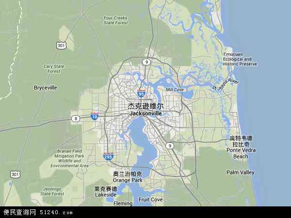 杰克逊 维尔地图 杰克逊维尔卫星地图 杰克逊