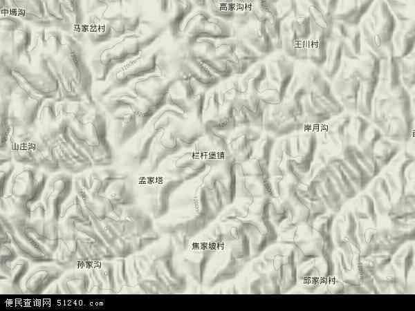 中国陕西省榆林市神木县栏杆堡镇地图(卫星地图)
