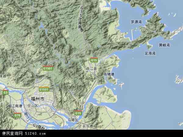 中国福建省福州市连江县地图(卫星地图)