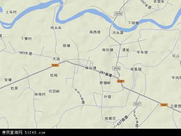 中国广东省茂名市电白县林头镇地图(卫星地图)