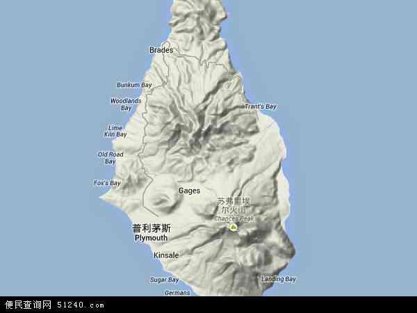 蒙特塞拉特地形图 - 蒙特塞拉特地形图高清版 - 2016年蒙特塞拉特地形图