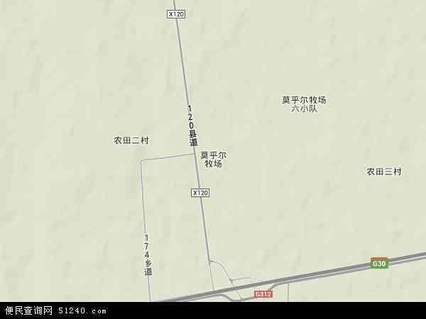 中国新疆维吾尔自治区伊犁哈萨克自治州霍城县莫乎尔牧场地图(卫星