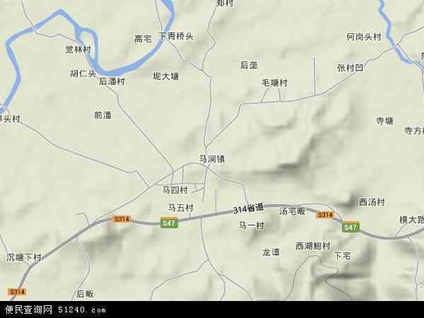 中国浙江省金华市兰溪市马涧镇地图(卫星地图)