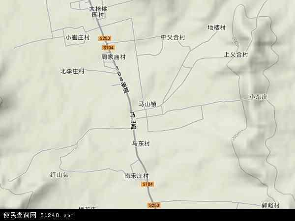 中国山东省济南市长清区马山镇地图(卫星地图)