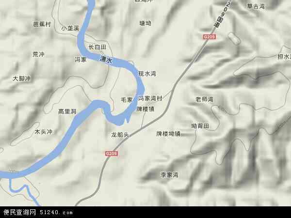 中国湖南省怀化市中方县牌楼镇地图(卫星地图)