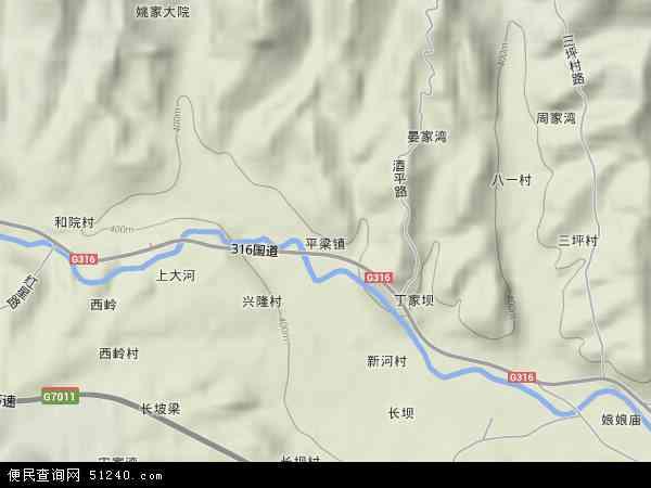 中国陕西省安康市汉阴县平梁镇地图(卫星地图)