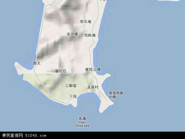 中国浙江省舟山市普陀区普陀山镇地图(卫星地图)