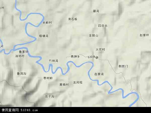 青神乡地形地图