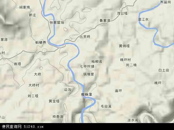中国湖南省怀化市沅陵县七甲坪镇地图(卫星地图)