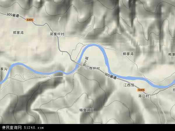 中国湖北省襄阳市保康县寺坪镇地图(卫星地图)
