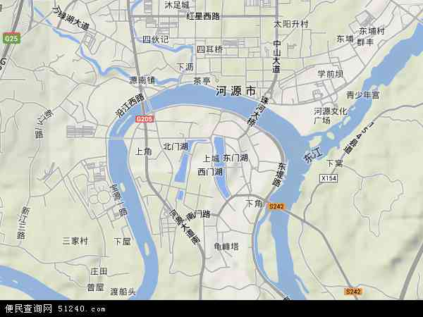 中国广东省河源市源城区上城地图(卫星地图)