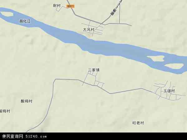 中国海南省省直辖县级行政区划东方市三家镇地图(卫星地图)
