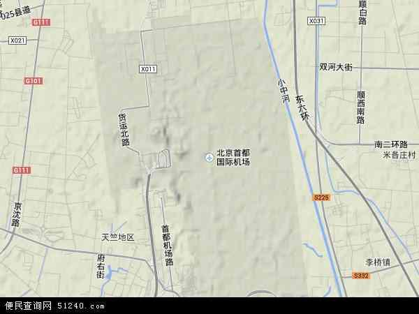 首都机场地形地图