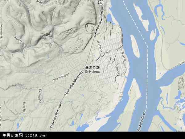 美国俄勒冈圣海伦斯地图(卫星地图)