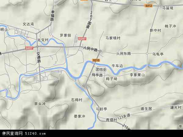 中国湖南省娄底市涟源市石马山镇地图(卫星地图)