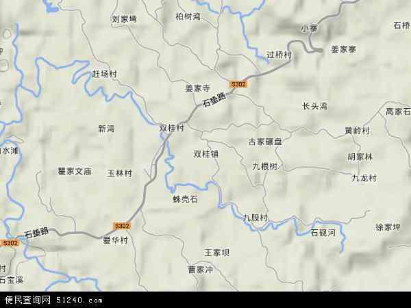 中国重庆市忠县双桂镇地图(卫星地图)