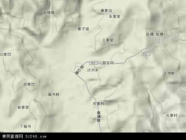 中国河南省三门峡市卢氏县沙河乡地图(卫星地图)