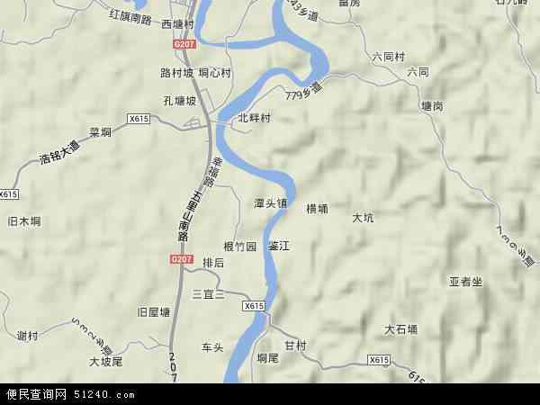 潭头镇地形地图