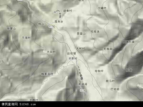 田坝镇地图 - 田坝镇卫星地图 - 田坝镇高清航拍地图