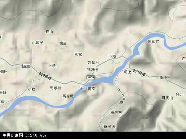 中国安徽省六安市金寨县铁冲乡地图(卫星地图)