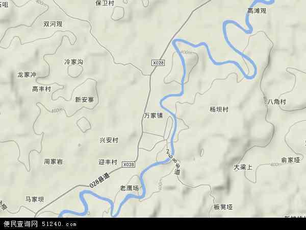 万家镇2017年卫星地图 中国四川省达州市达川区万家镇地图