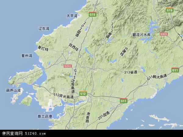 中国辽宁省大连市瓦房店市地图(卫星地图)