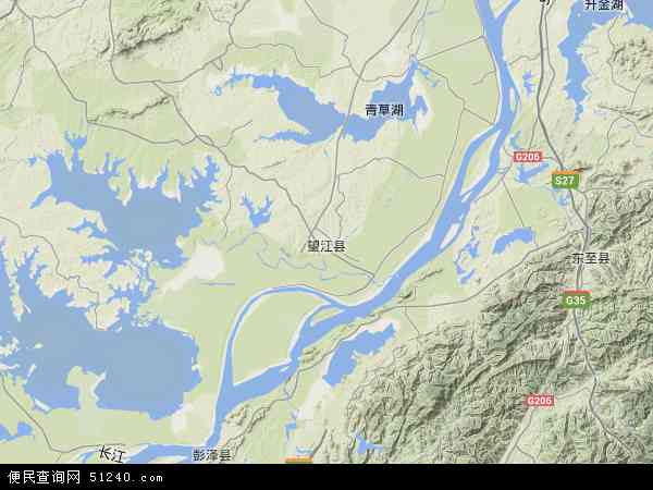 中国安徽省安庆市望江县地图(卫星地图)