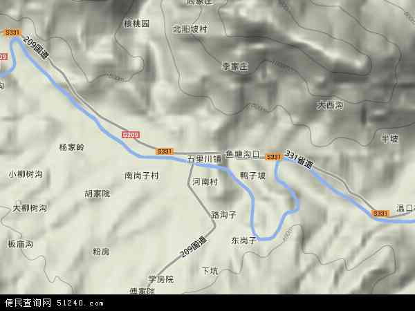 中国河南省三门峡市卢氏县五里川镇地图(卫星地图)