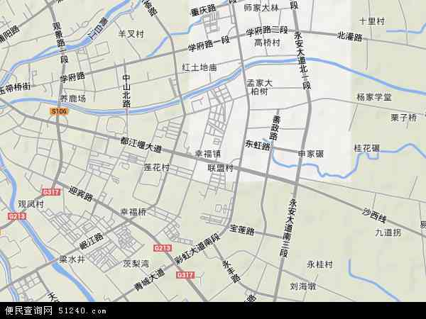 幸福镇地形地图