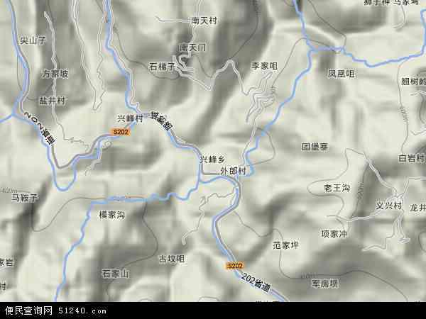 中国重庆市忠县兴峰乡地图(卫星地图)