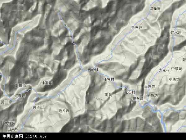 西岭镇地形地图