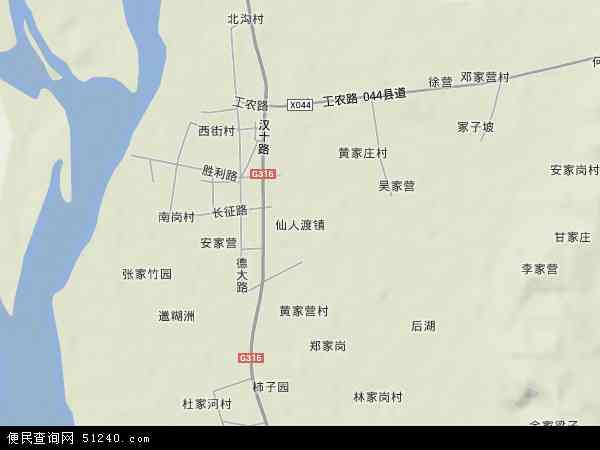 中国湖北省襄阳市老河口市仙人渡镇地图(卫星地图)