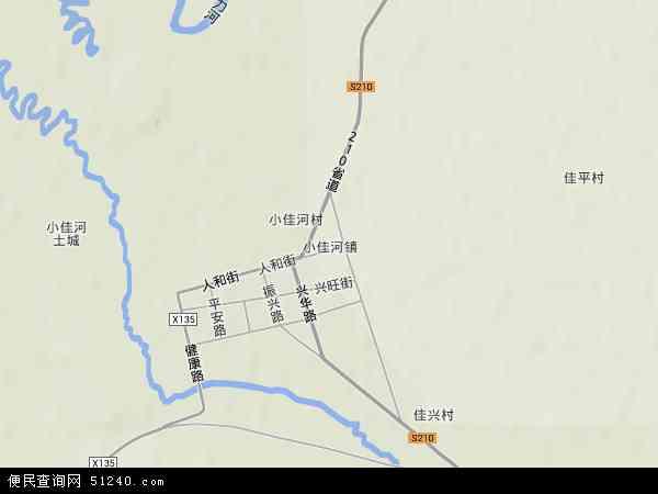 中国黑龙江省双鸭山市饶河县小佳河镇地图(卫星地图)图片