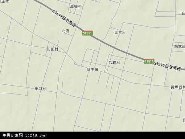 中国山东省临沂市费县薛庄镇地图(卫星地图)