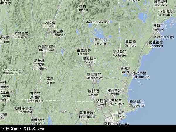 新罕布什尔高清卫星航拍地图