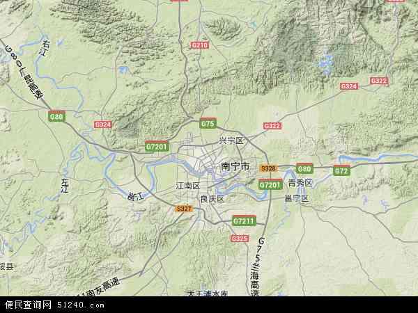 西乡塘区2018年卫星地图 中国广西壮族自治区南宁市西乡塘区地图