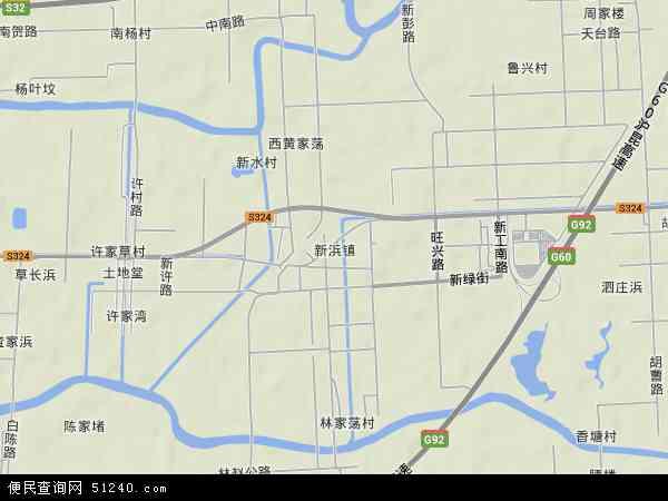 中国上海市松江区新浜镇地图(卫星地图)