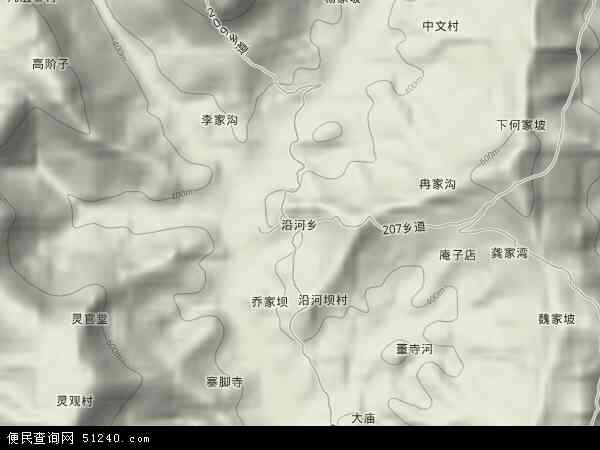 沿河乡2017年卫星地图 中国四川省达州市达川区沿河乡地图