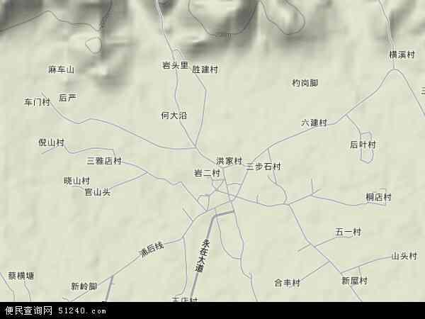 中国浙江省金华市浦江县岩头镇地图(卫星地图)