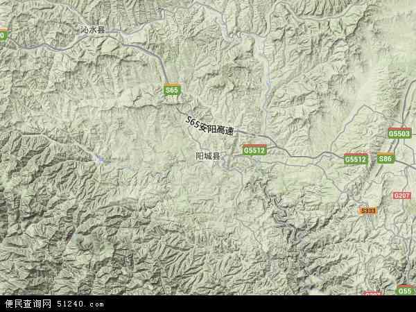 中国山西省晋城市阳城县地图(卫星地图)