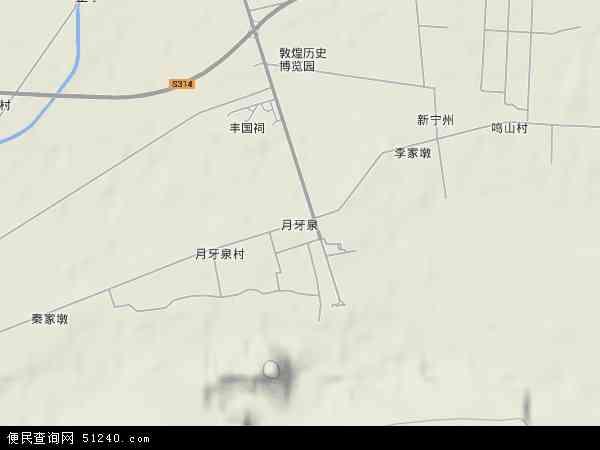 中国甘肃省酒泉市敦煌市月牙泉镇地图(卫星地图)