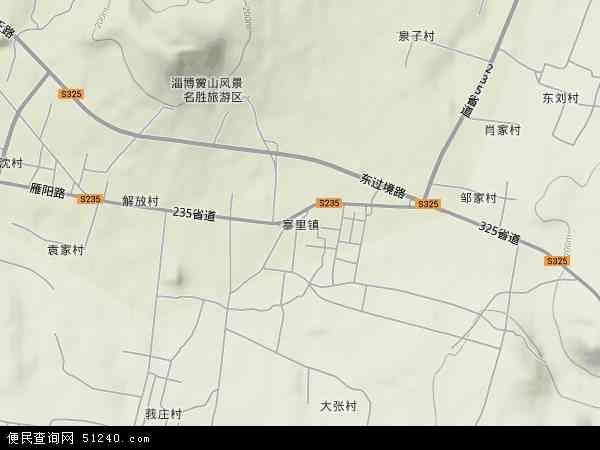 中国山东省淄博市淄川区寨里镇地图(卫星地图)