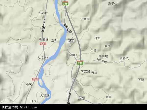 中国江西省赣州市会昌县站塘乡地图(卫星地图)