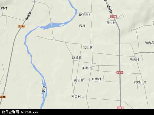 中国山西省临汾市洪洞县赵城镇地图(卫星地图)