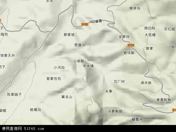 中水镇2018年卫星地图 中国贵州省毕节市威宁彝族回族苗族自治县中
