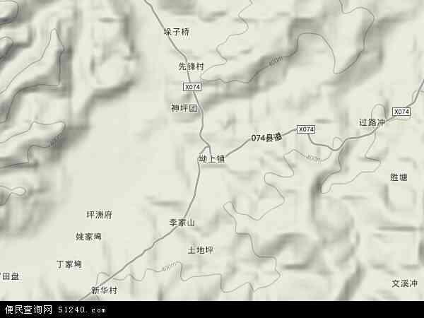 坳上镇地图 - 坳上镇卫星地图