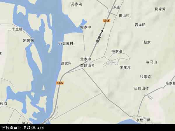 中国湖南省常德市武陵区白鹤山乡地图(卫星地图)