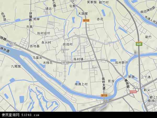 中国广东省佛山市顺德区陈村镇地图(卫星地图)