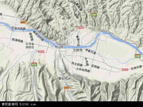 中国甘肃省兰州市城关区地图(卫星地图)
